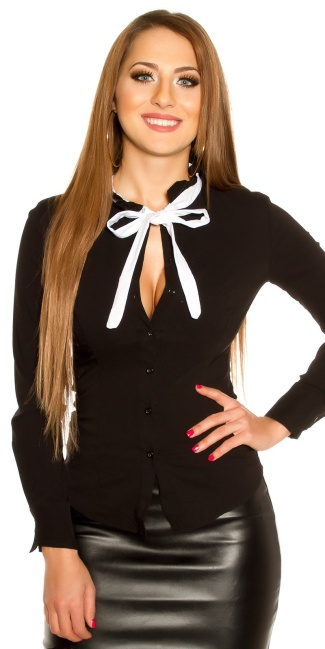 Sexy blouse with bow to tie Up Black