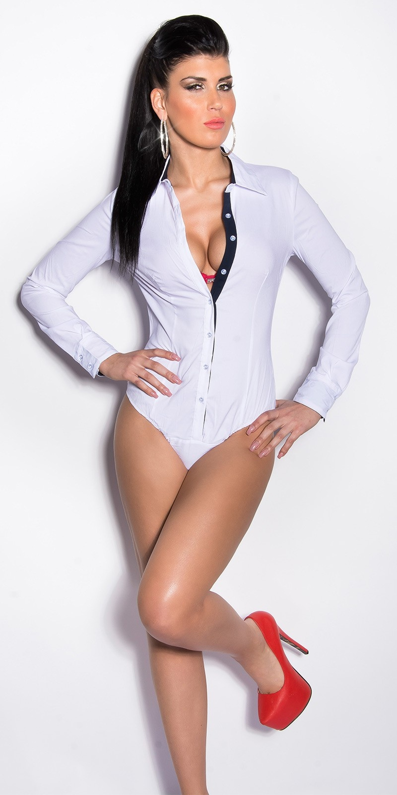 Sexy body blouse in business look White