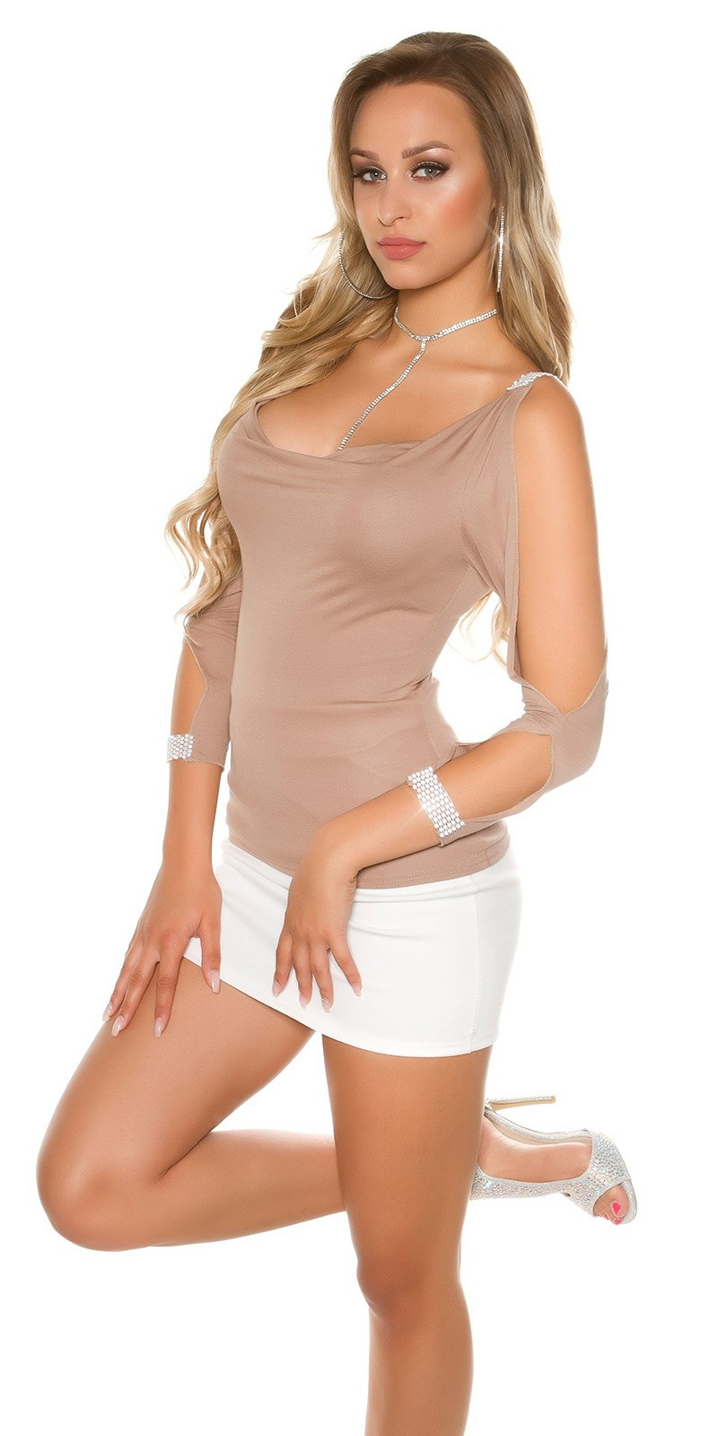 Sexy longsleeve with open sleeves and rhinestones Cappuccino