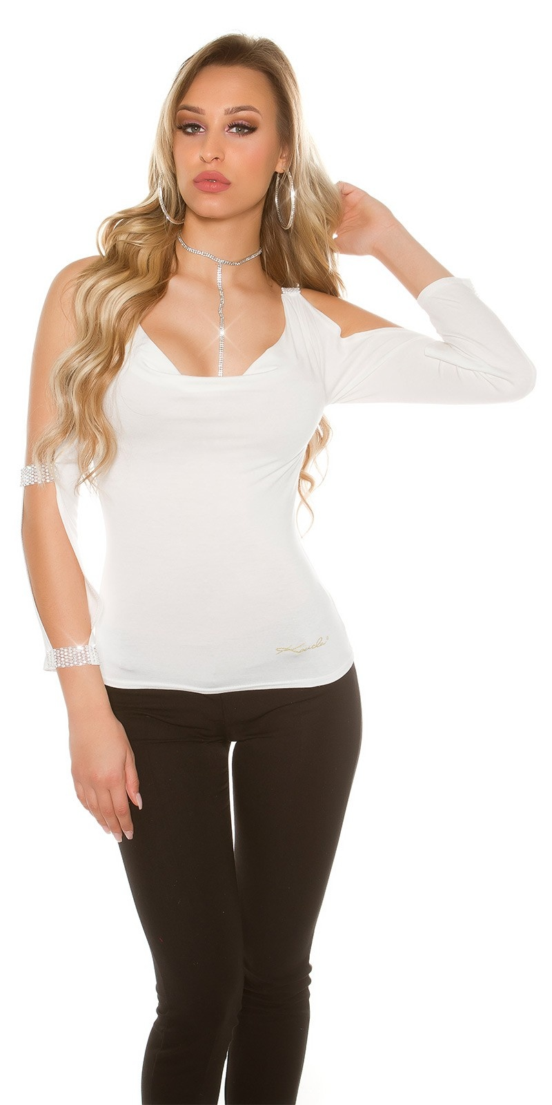 Sexy longsleeve with open sleeves and rhinestones White