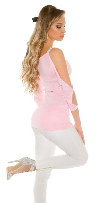 Sexy Long Sleeve, sleeve open with rhinestones Pink