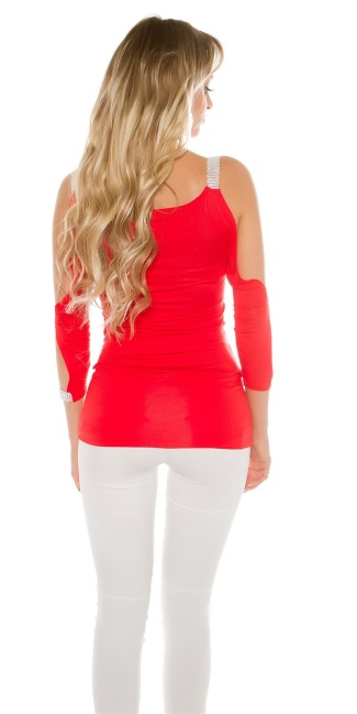 Sexy Long Sleeve, sleeve open with rhinestones Red