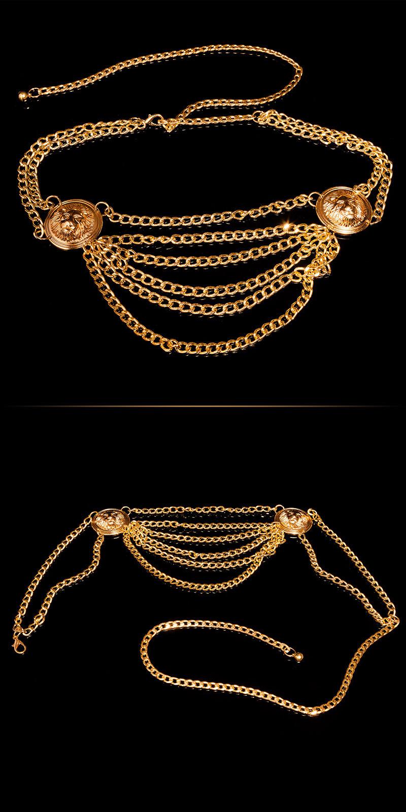 Trendy ketting riem goud