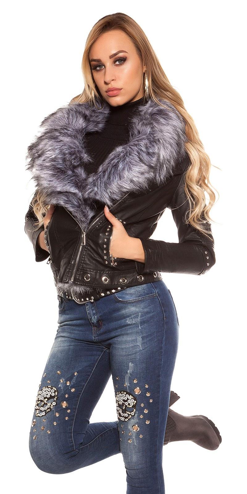 Trendy leatherlook bikerjacket w.rivets& fake fur Grey