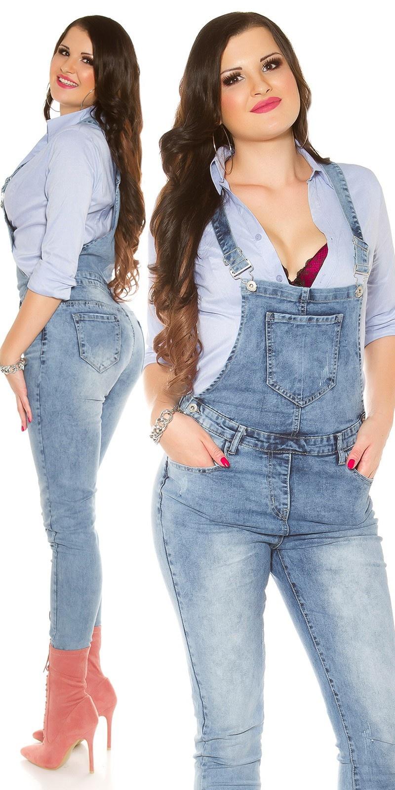 Curvy girls! trendy jeans tuinbroek jeansblauw