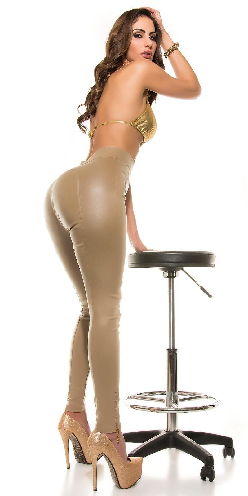 Sexy koucla-hoge taille lederlook broek met ritssluitingen beige