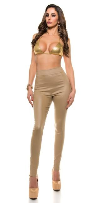 2b9690a85b426e Sexy Koucla-highwaist leatherlook pants with zips Beige - ai0000H ...
