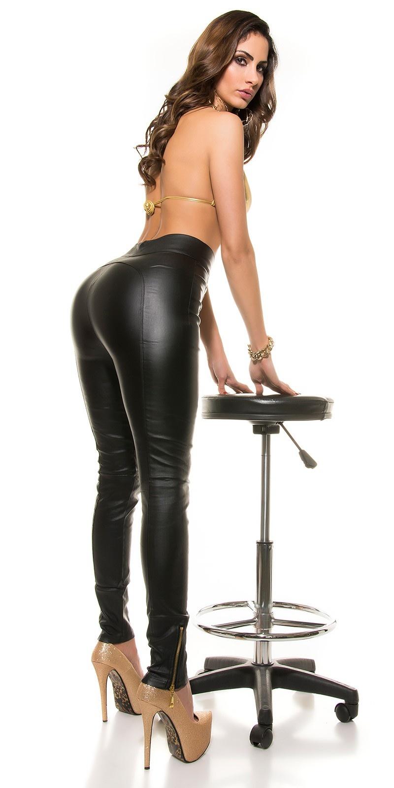 Sexy koucla-hoge taille lederlook broek met ritssluitingen zwart