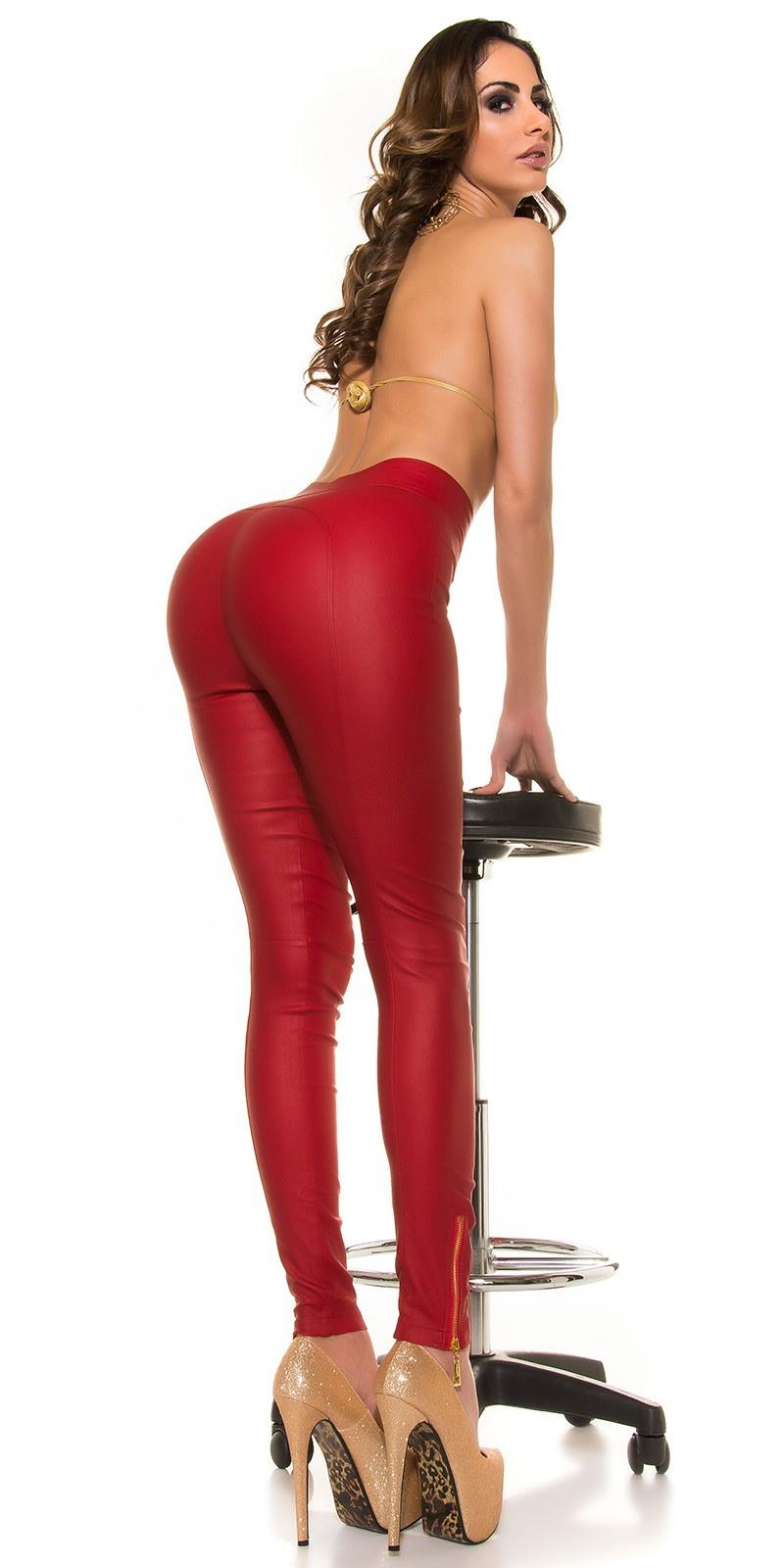 Sexy koucla-hoge taille lederlook broek met ritssluitingen rood
