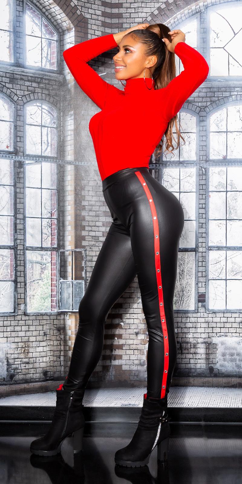 Sexy leder look leggings zwart