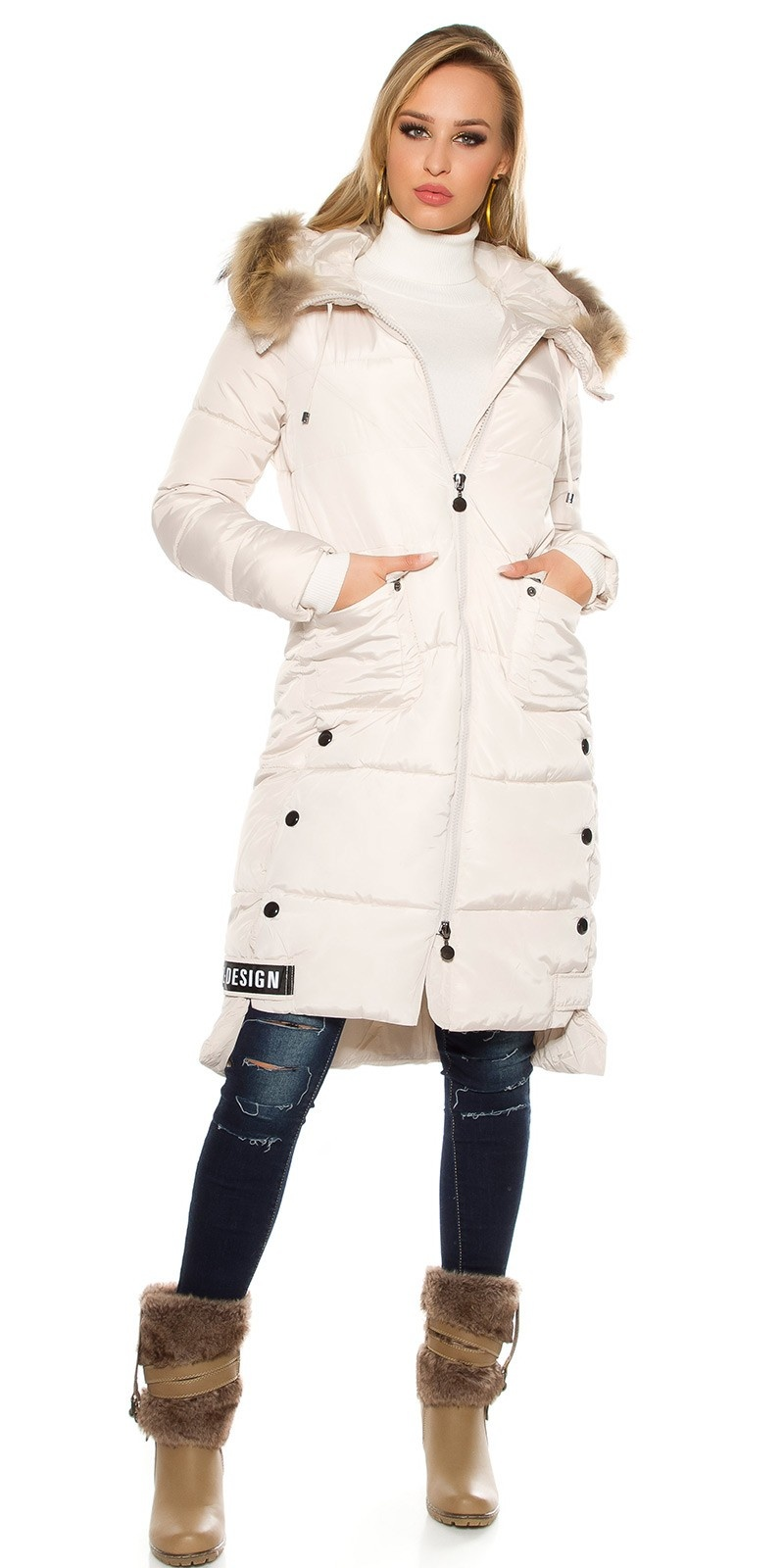 Trendy stitched winter coat with hood Beige