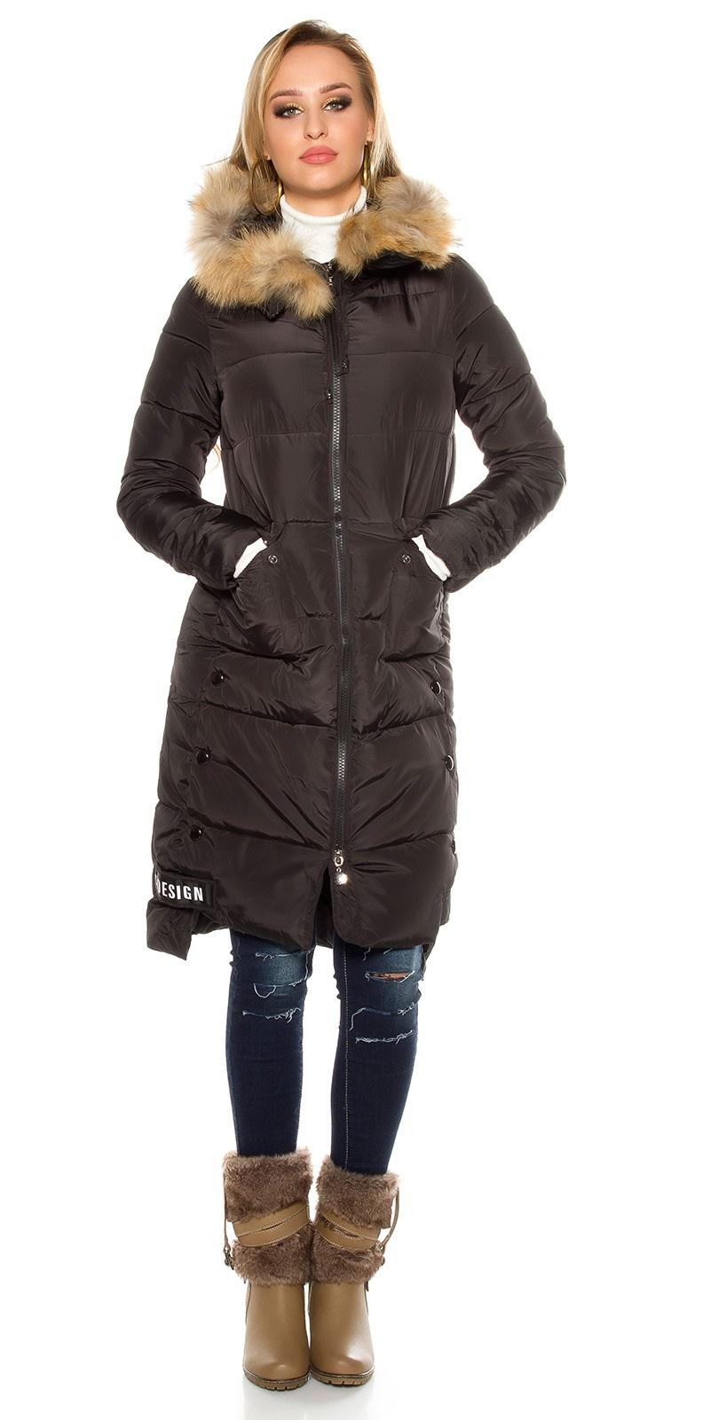 Trendy stitched winter coat with hood Black