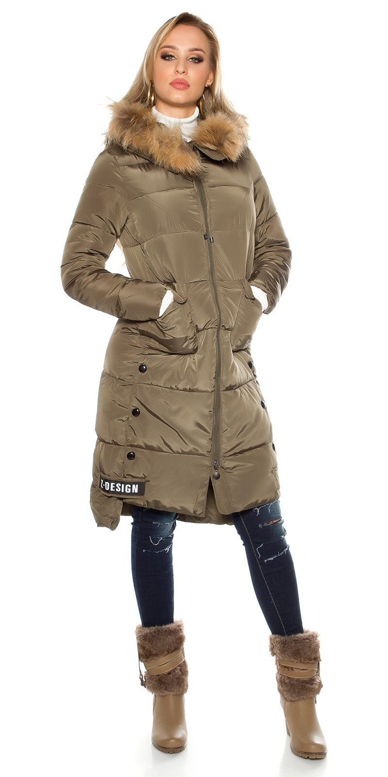 Trendy stitched winter coat with hood Khaki