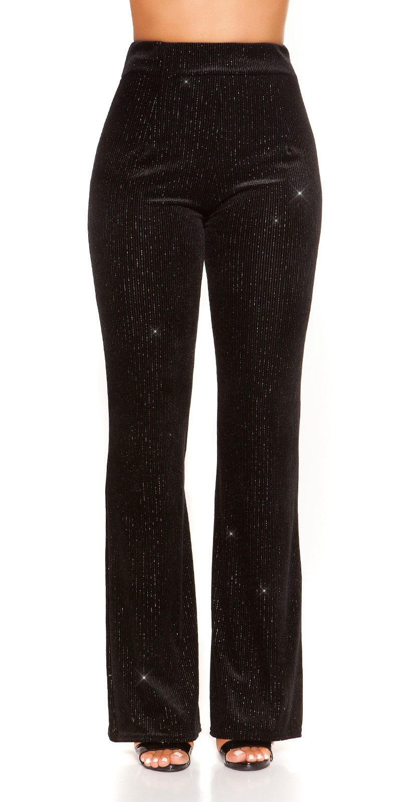 Sexy PArTY TImE velvet look pants+ glitter threads Black