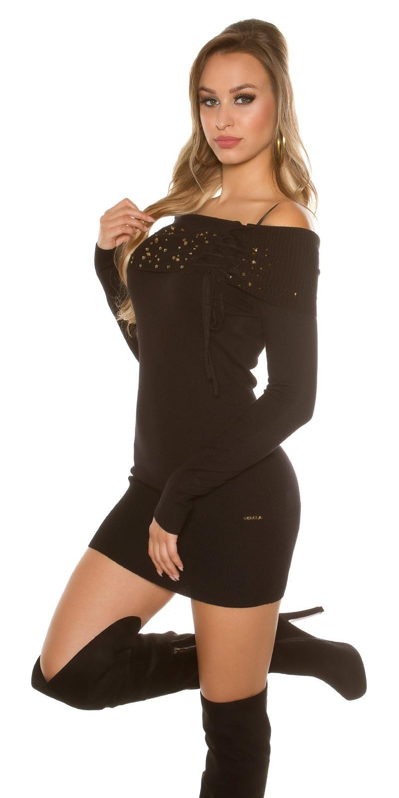 Sexy gebreide mini jurkje met studs zwart