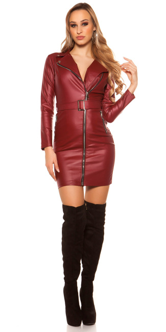 Sexy Leather Look Mini Dress With Belt Bordeaux