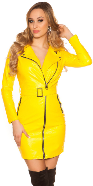 Sexy Leather Look Mini Dress With Belt Yellow