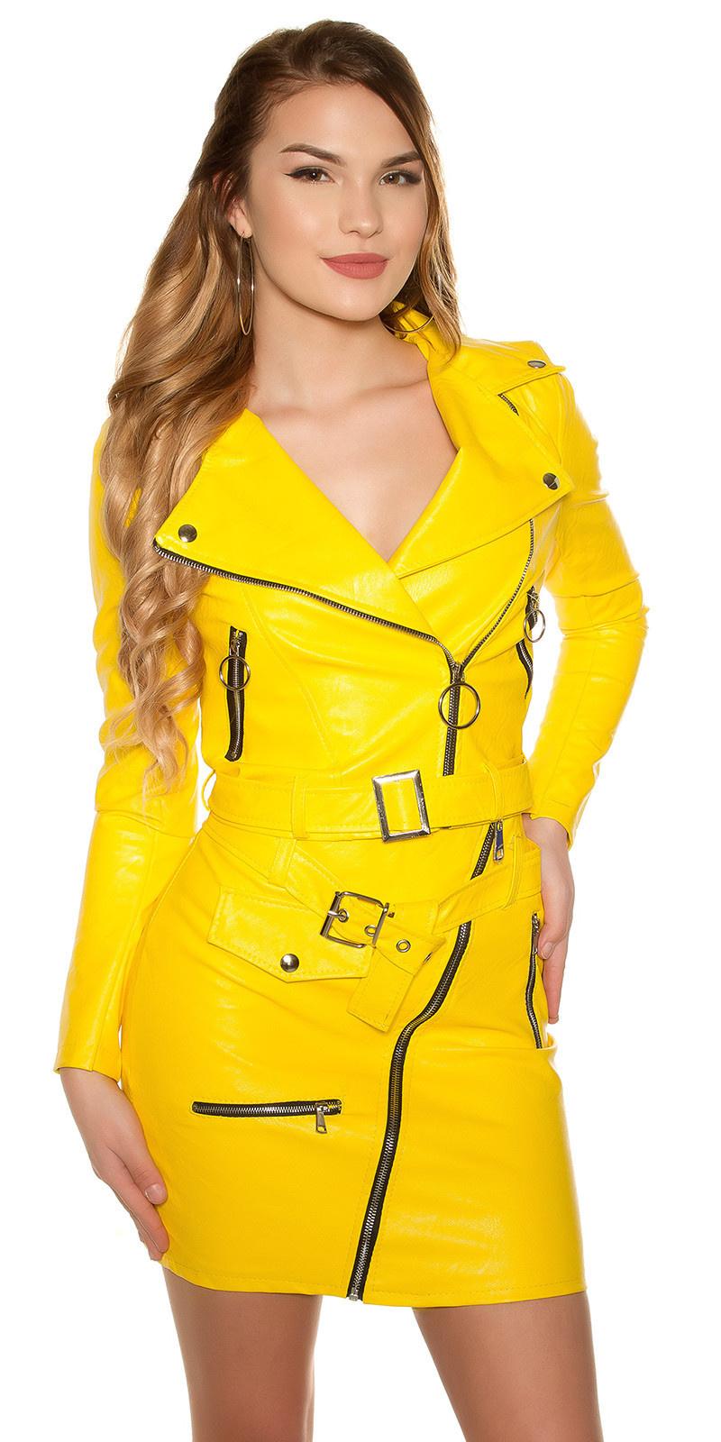 Sexy KouCla bikerlook jacket with zips & belt Yellow