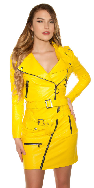 Sexy KouCla bikerlook jacket with zips & belt Yellow