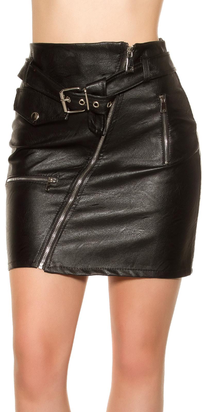 Sexy KouCla leatherlook mini skirt zips&belt Black
