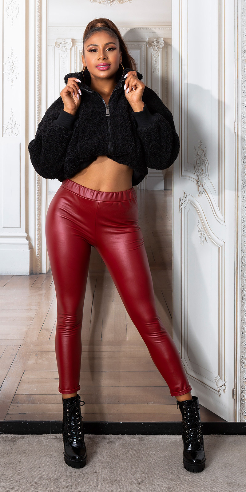 Sexy faux leder thermo leggings bordeaux
