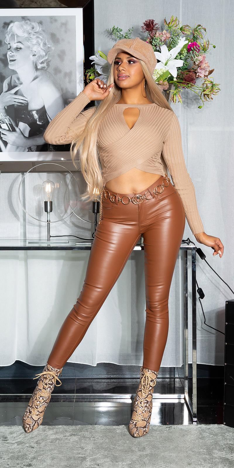 Sexy must have basic leder-look broek bruin