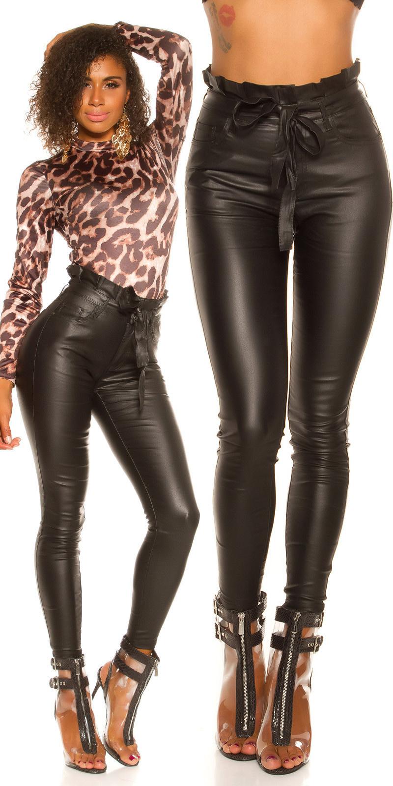 Sexy skinny paperbag lederlook broek met riem zwart
