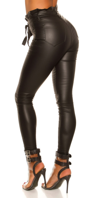 Sexy Skinny Paperbag Leatherlook pants with belt Black