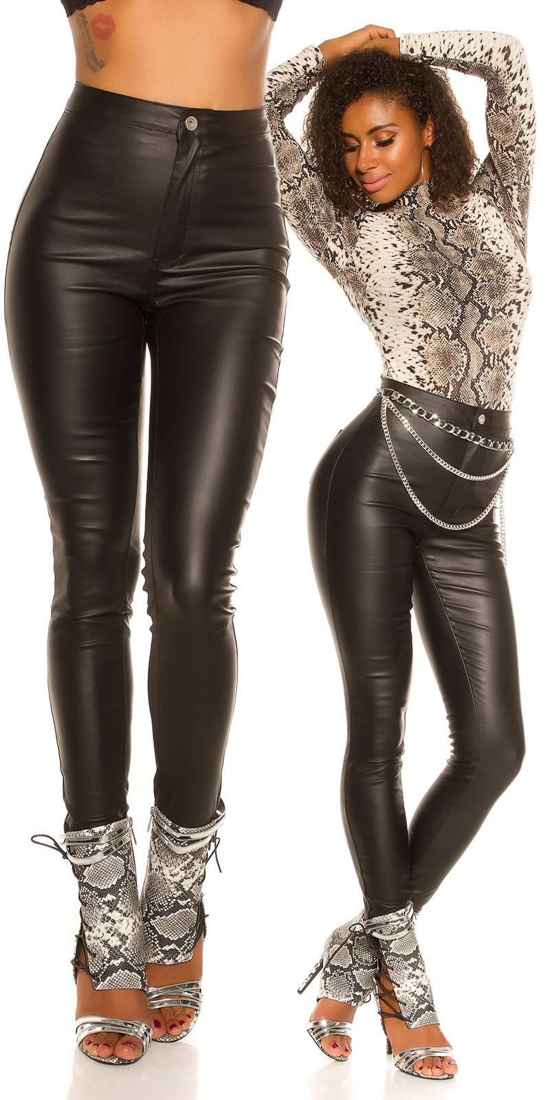 Sexy hoge taille skinny lederlook broek zwart
