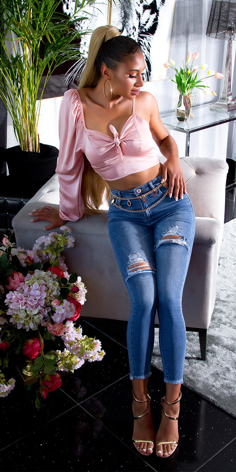 Sexy hoge taille gebruikte used look jeans blauw