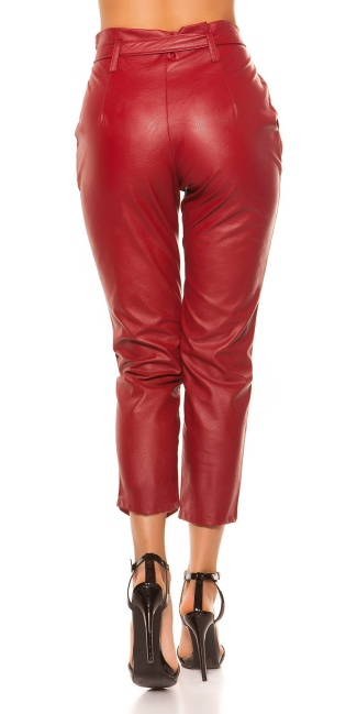 Sexy high waist leatherlook pants with loop Bordeaux