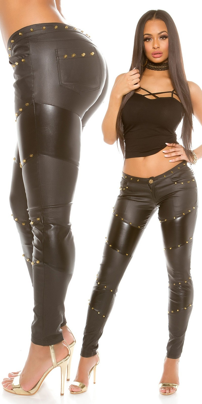 Sexy KouCla leatherlook trousers with rivets Black