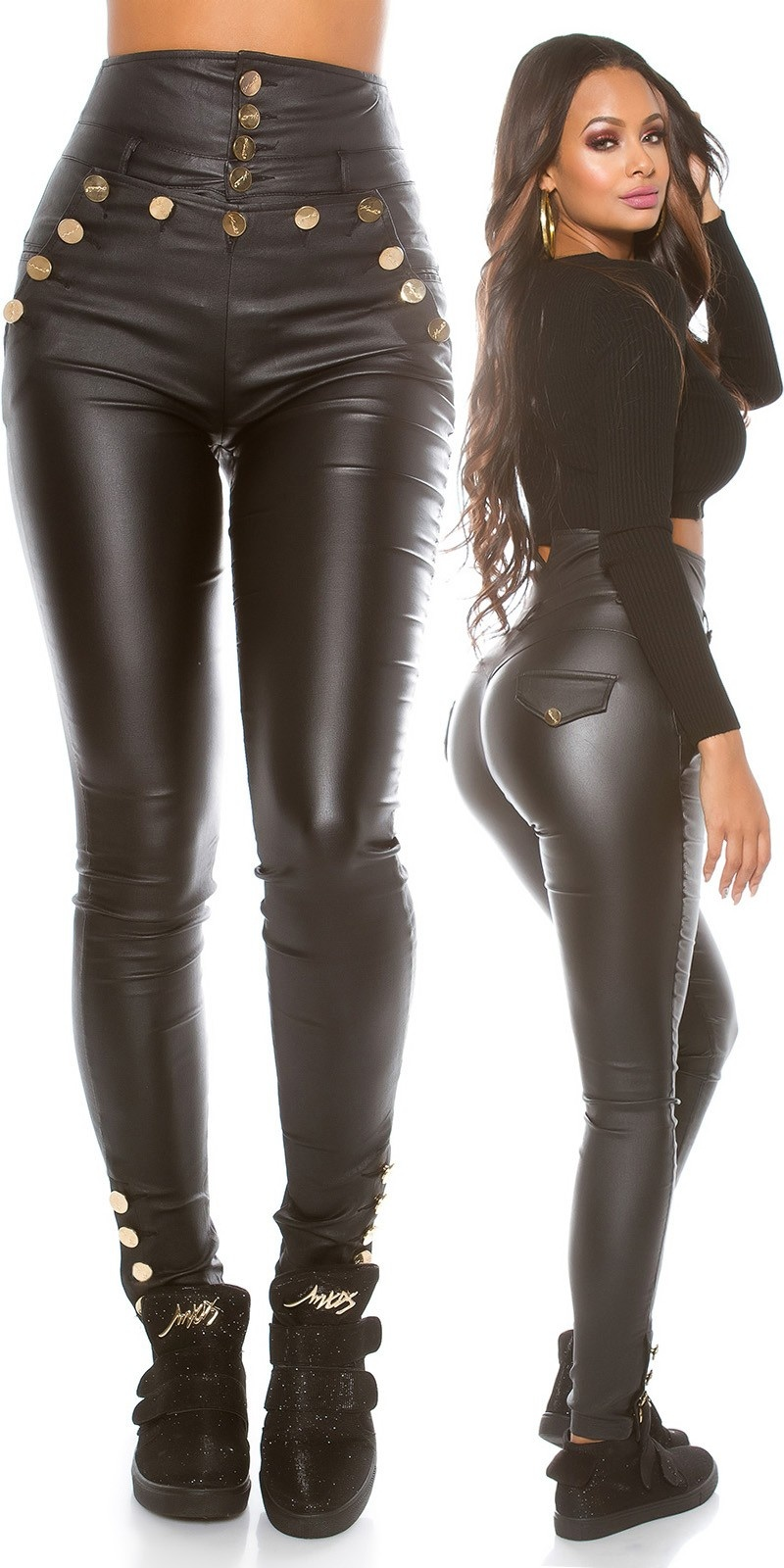 Sexy Highwaist Leather look pants Black
