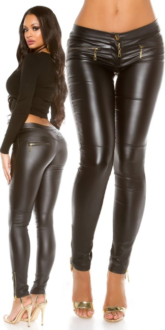 incredible prices great discount sale crazy price Sexy leather look pants with zips Black
