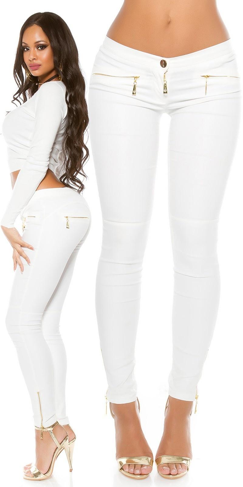Sexy Lederlook broek met ritsen Wit