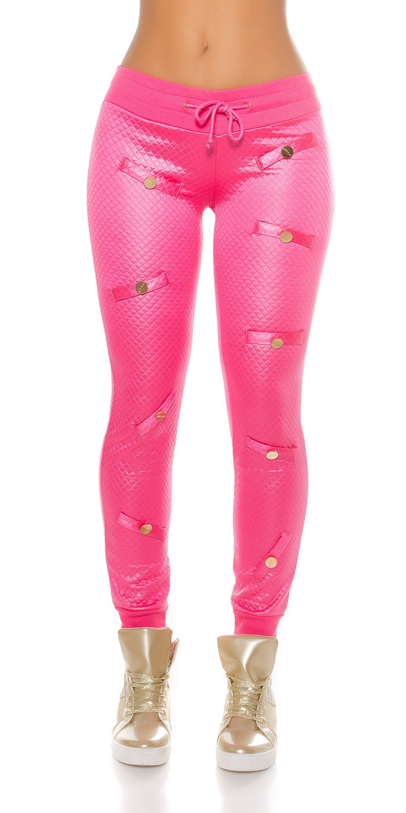 Trendy KouCla joggers in gloss & quilted look Fuchsia
