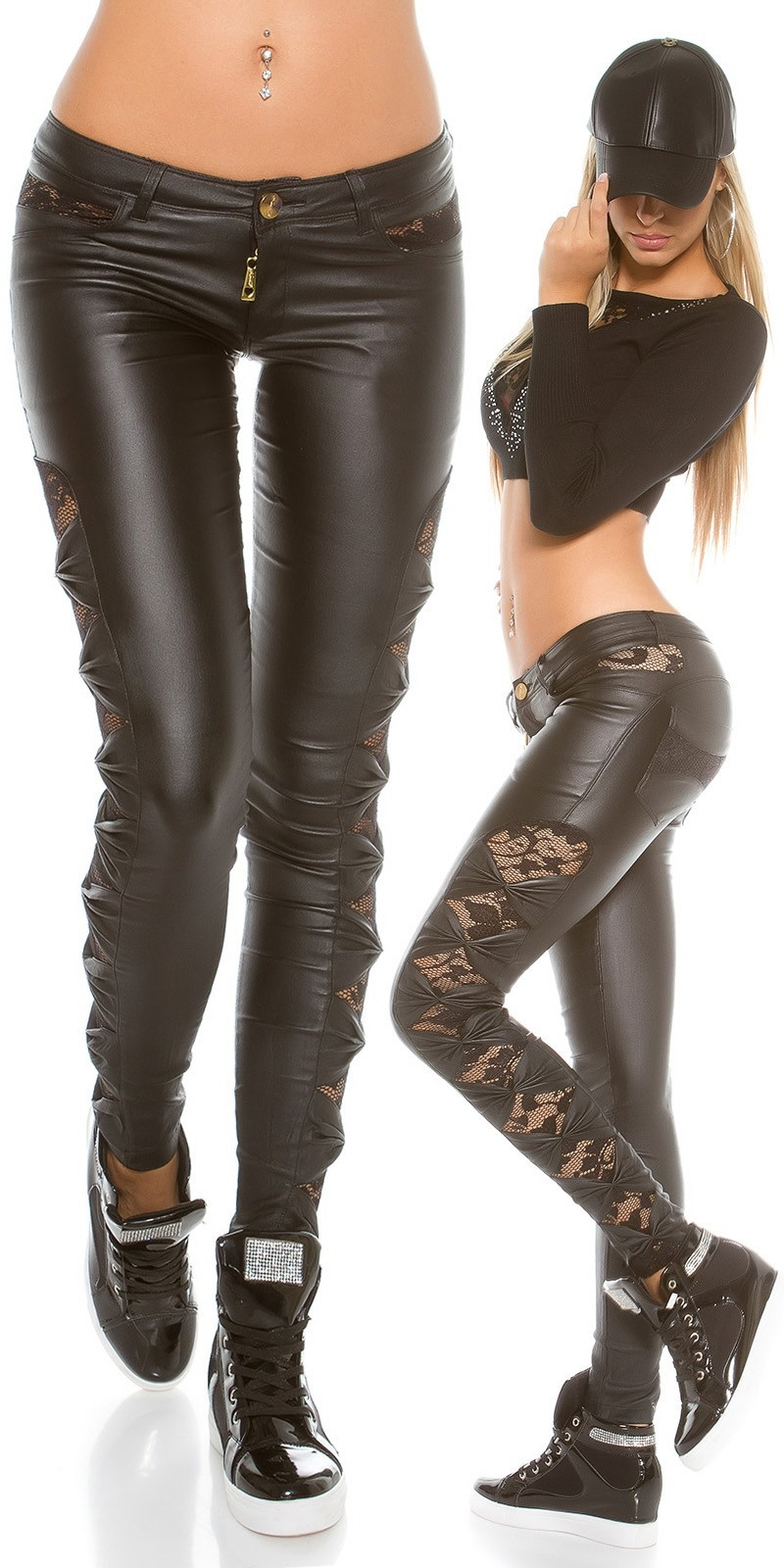 Leatherlook pants with lace Black