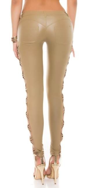 Leather-look trousers with side loops Beige