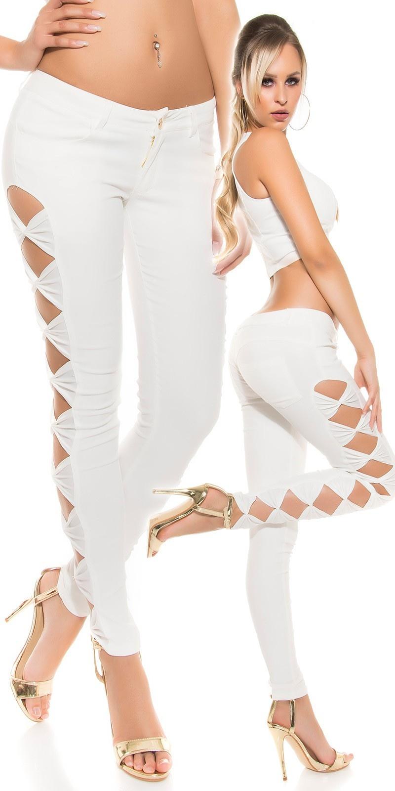 Leder-look broek met zij-openingen Wit