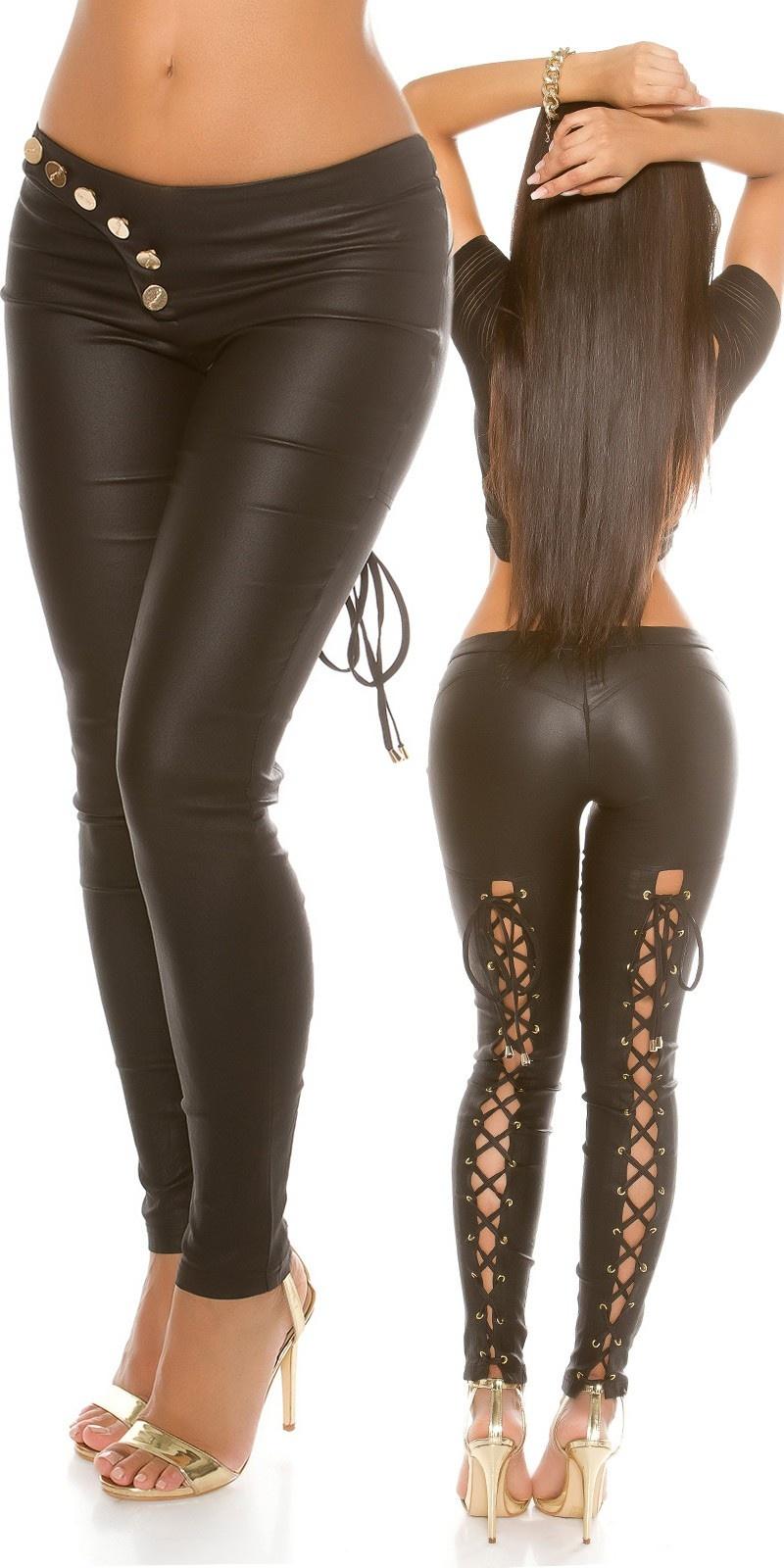 Sexy lederlook broek met veter zwart