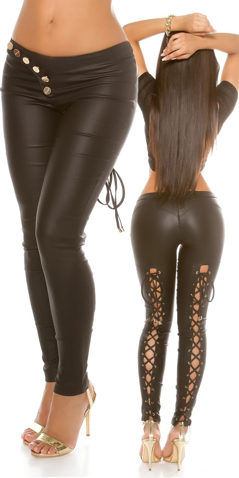 Sexy KouCla leatherlook pants laced Black