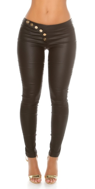 Sexy KouCla leatherlook pants laced Black