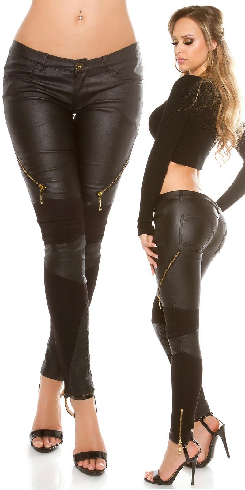 Sexy broek met lederlook & ritssluitingen zwart