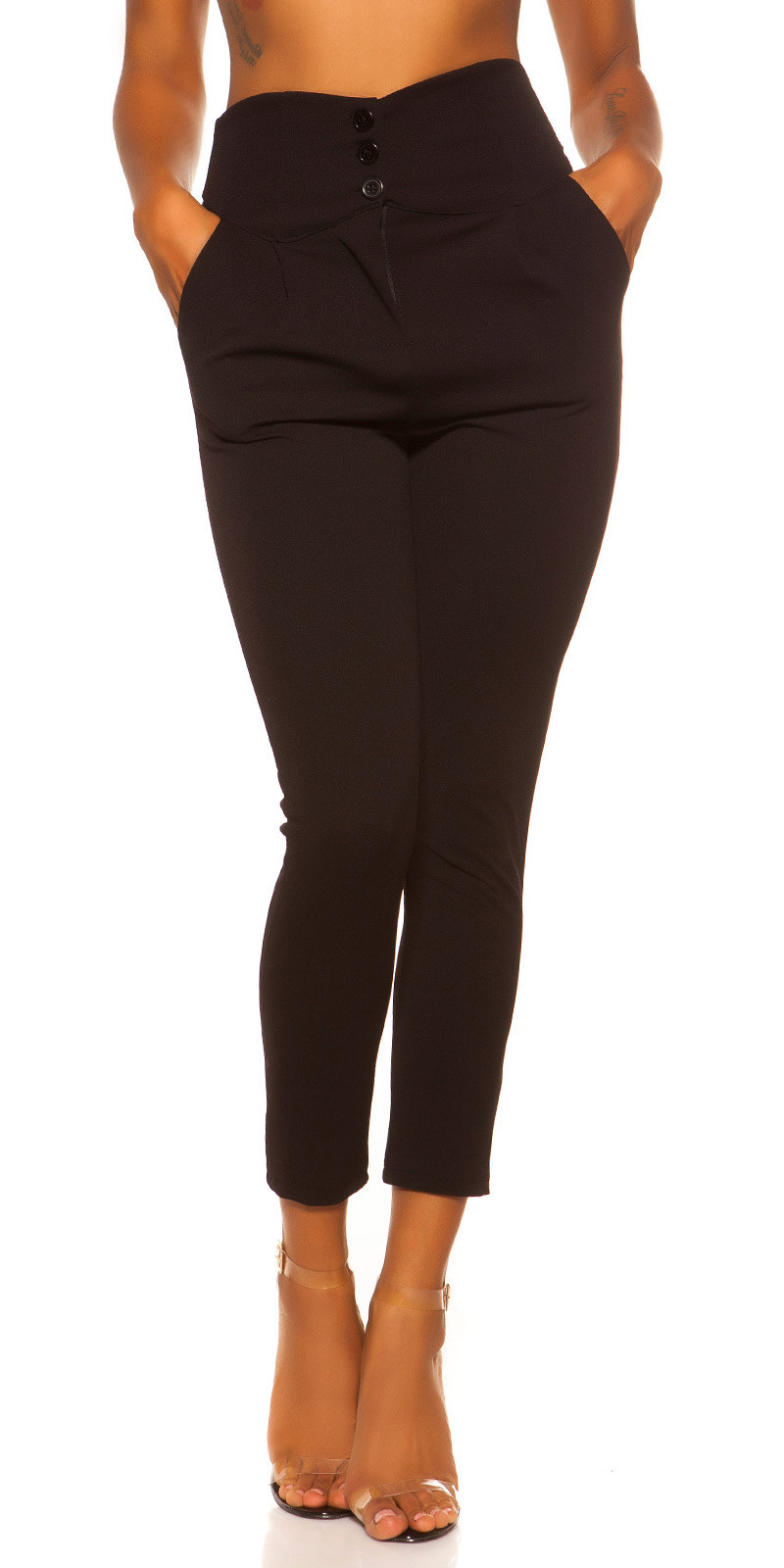 Sexy hoge taille stoffen broek zwart
