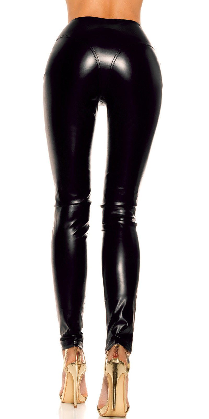 Sexy KouCla leatherlook Pants with zips Black