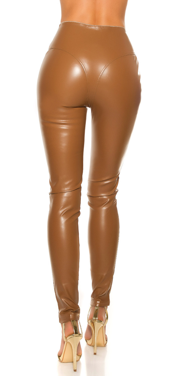 Sexy KouCla leatherlook Pants with zips Cappuccino