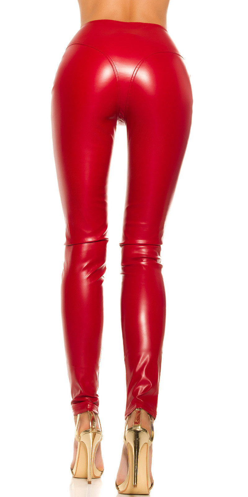 Sexy KouCla leatherlook Pants with zips Red