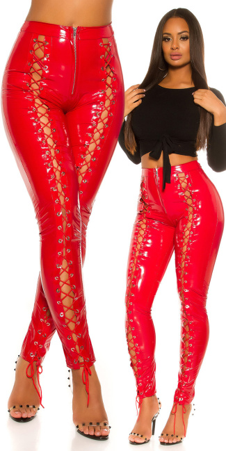 Sexy KouCla Latex Look pants with lacing Red