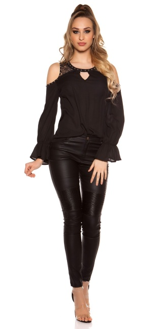 Sexy Coldshoulder-Blouse w. valance Black
