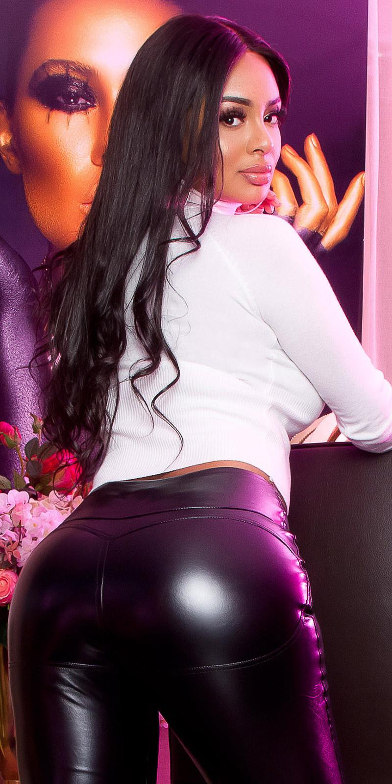 Sexy butt lederlook broek met ritssluiting zwart
